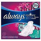 Always Radiant Serviettes Hygiéniques Normal avec Ailettes Taille 1 - x12