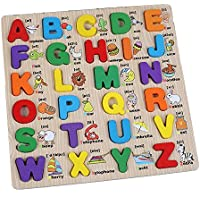 Newin Star 1pcs Preschool Wooden Alphabet Puzzle Board Letters Jigsaw Puzzle, Early Educational Toy for Toddlers/Kids/Children- Capital Alphabet