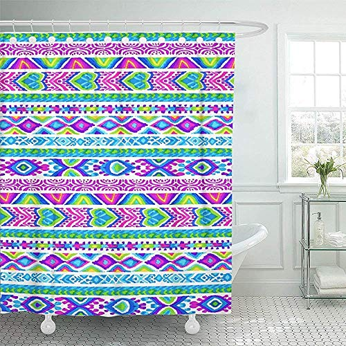 LINGJIE Duschvorhang Tribal Friendship Bracelet Ornamental Ribbons Colorful Symbol for Young Children Ethnic Motifs Shower Curtain Shower Curtain with Plastic Hooks - Moen-symbol
