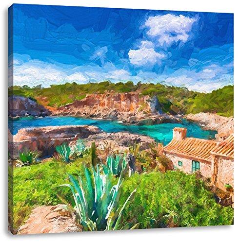 Ferienhaus an der spanischen Küste Kunst Pinsel Effekt, Format: 70x70 auf Leinwand, XXL riesige Bilder fertig gerahmt mit Keilrahmen, Kunstdruck auf Wandbild mit Rahmen, günstiger als Gemälde oder Ölbild, kein Poster oder Plakat