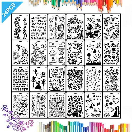 Angshop Malschablonen für Zeichnungen, Schablonen für Kinder, 25,4 x 17,8 cm, Kunststoff, für Scrapbooks, 24 Stück