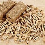 Kany 100 Stück Wäscheklammern Holz + 200M Garten Kordel,Kleine Holzklammern Clothespins Holzwäscheklammern mit Natur Juteschnur für Fotos Garten, Fotowand und Scrapbooking