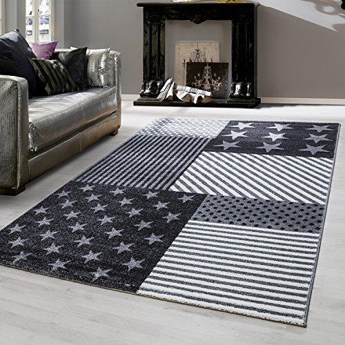 Kinder Teppiche für Kinderzimmer, Babyzimmer, Spielteppich kariert und Stern Motive, Multi Farben Grau und Weiss_0540, Maße:120x170 cm