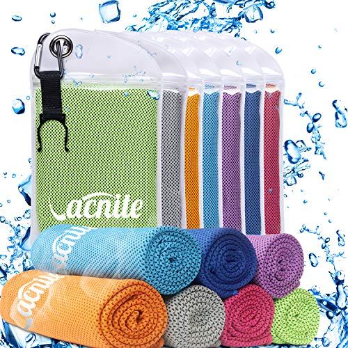 VACNITE Mikrofaser kühlendes Handtuch, 100cm x 30 cm, Tragbare Tasche mit Cliphaken. für Sauna, Fitness, Sport und Outdoor-Aktivitäten (Green)