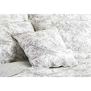housse de coussin coton canterbury tales toile de jouy 45 x 45cm blanc gris. Black Bedroom Furniture Sets. Home Design Ideas