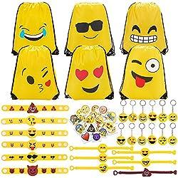 Konsait 70 Pack Emoji Bolsas de cuerdas, Emoji llavero, Emoji pulseras de Silicona goma, Emoji tatuajes temporales para piñata artículos de fiesta de cumpleaños Regalo juguete for Niños infantiles