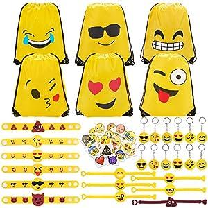 611Xen1wfaL. SS300  - Konsait 70 Pack Emoji Bolsas de Cuerdas, Emoji Llavero, Emoji Pulseras de Silicona Goma, Emoji Tatuajes temporales para piñata artículos de Fiesta de cumpleaños Regalo Juguete for Niños Infantiles
