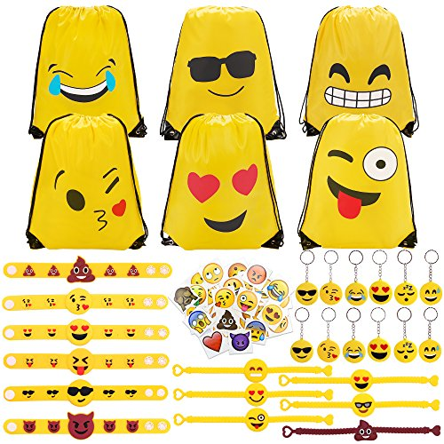 Konsait 70 Pack Emoji Bolsas de cuerdas, Emoji llavero, Emoji pulseras de...