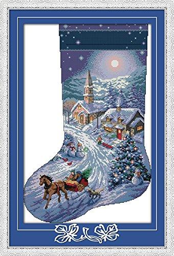 captaincrafts neuen Kreuzstich Kits Mustern Stickpackung-Weihnachten Strümpfe, Snow View WHITE (Snow White Bilderrahmen)