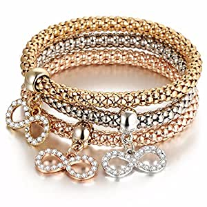 """Young & Forever """"Trendsetter Collection"""" diwali gifts special Enticing 3 Pcs Australian Crystals Charms Elastic stackable Mesh Bracelets For Women, Free Size by CrazeeMania (Endless Love Infinity)"""