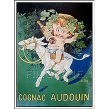 """: COGNAC AUDOUIN : REPRODUCTION 50x75cm / 19.7x29.5"""" d'1 RARE AFFICHE ANCIENNE"""