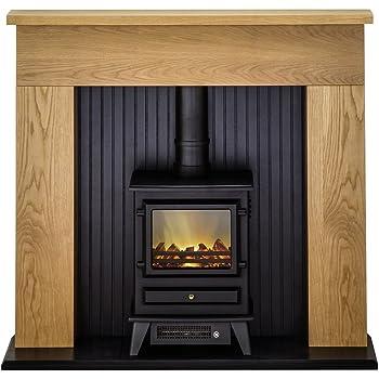 Gas Or Electric Oak Wood Surround Cream Marble Stone Hearth Modern