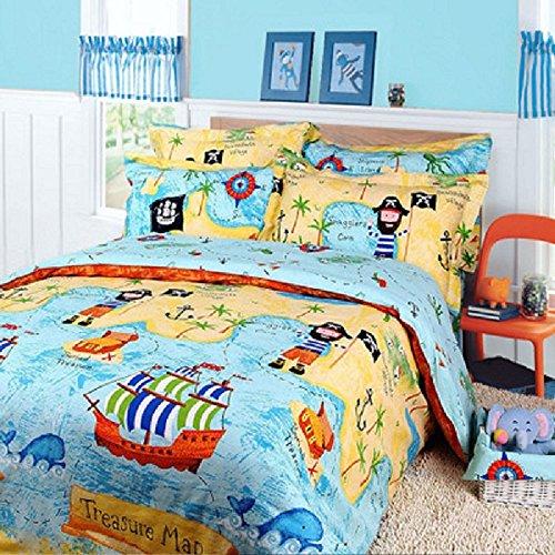 LBBS-tech Baumwolle Bettwäsche Set Bettbezug Set für Kinder Piraten der Karibik Bettwäsche Set für Kinder Jungen Schatzkarte Bettwäsche-Set, blau, Twin - Bettwäsche Twin Piraten