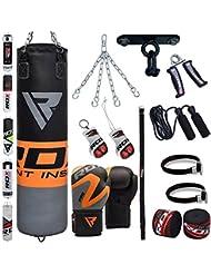 RDX Boxsack Set Gefüllt Kickboxen MMA Kampfsport Muay Thai Boxen mit Deckenhalterung Stahlkette Training Boxhandschuhe 13 PC Schwer 4FT 5FT Punching Bag