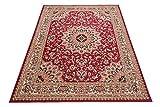 Carpeto Klassischer Orientteppich & Perserteppich mit Orientalisch Ornamente Mandala Muster Kurzflor in Beige Rot/Top Preis   ÖKO Tex (130 x 190 cm)