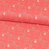 Baumwolljacquard Jersey Elefanten pink Kinderstoffe - Preis