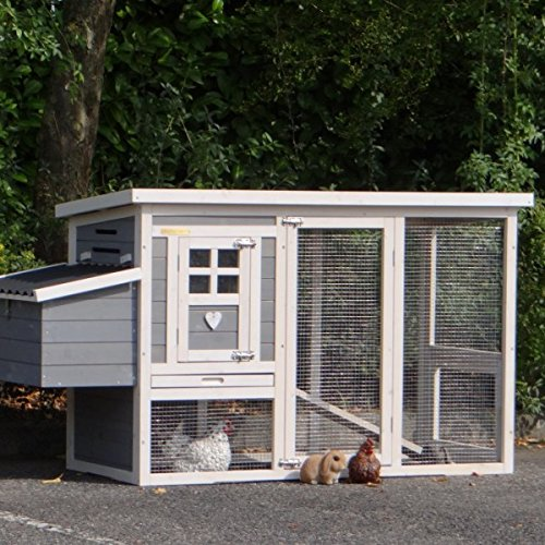 Animalhouseshop.de Hühnerstall Budget White-Grey Met kunststof Dach en legenest 168x65x87cm