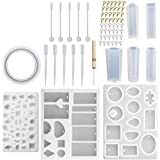 India Pioneer Resin Silicone Jewelry Casting Mould DIY Making Tool Set for Crafting Pendant Earrings (White) -68 PC