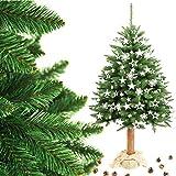 M&W Weihnachtsbaum Christbaum Fichte Natur künstlich im Topf Jute FICHTE NATURSTAMM Baumstamm aus Echtem Holz Tannenbaum Höhe 160 cm / 180 cm / 215 cm