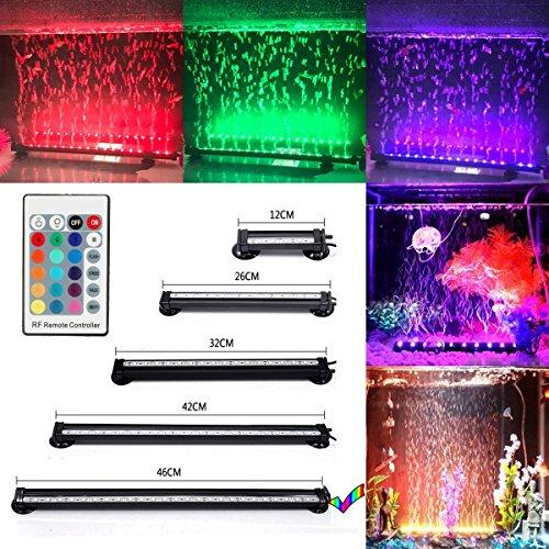 GreenSun LED Lighting 46cm RGB LED Aquarium Bubble Beleuchtung IP68 Wasserdicht Aquariumlampen Luftblase mit 24 Tasten RC Fernbedienung Unterwasserleuchte für Aquarien Fische Tank