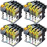 Pictech® Cartuchos de tinta compatibles con Brother LC123 para impresora multifunción Brother MFC-J4410DW, MFC-J4510DW, MFC-J4610DW, MFC-J4710DW, MFC-J470DW, MFC-J6920DW, MFC-J870DW, MFC-J245, MFC-J650DW, MFC-J6720DW, MFC-J6520DW, DCP-J4110DW, DCP-J132W, DCP-J152W, DCP-J552DW, DCP-J752DW, DCP-J172W (4 x Negro, 4 x Cian, 4 x Magenta, 4 x Amarillo) (4 Conjuntos)
