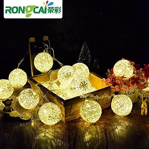 LLLDB Led Lanterna Piccola Strobo Pizzo Stringa A Sfera Super Star Light Vacanze Di Natale, Decorazioni Per Matrimoni Impermeabile Luce ,1 Seriale Di Rame 10 M - Luce Bianco Caldo (Batteria)
