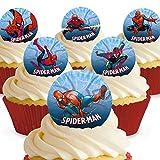 12 x Vorgeschnittene und Essbare Spiderman Comic Kuchen Topper (Tortenaufleger, Bedruckte Oblaten, Oblatenaufleger)