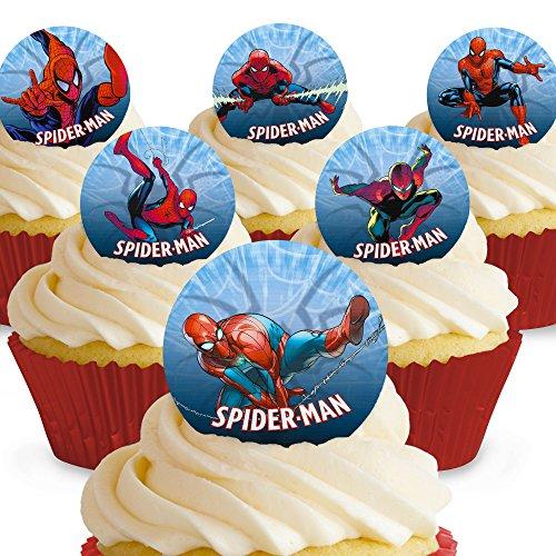 Cakeshop 12 x VORGESCHNITTENE UND ESSBARE Spiderman Comic Kuchen topper (Tortenaufleger)