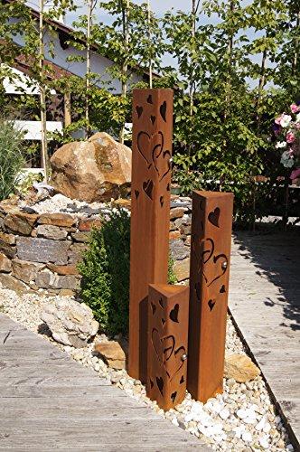 JH-Metalldesign Säulenset Herz Säule Set Edelrost Rost Romantik Gartendeko Garten Edelstahl – Kugel