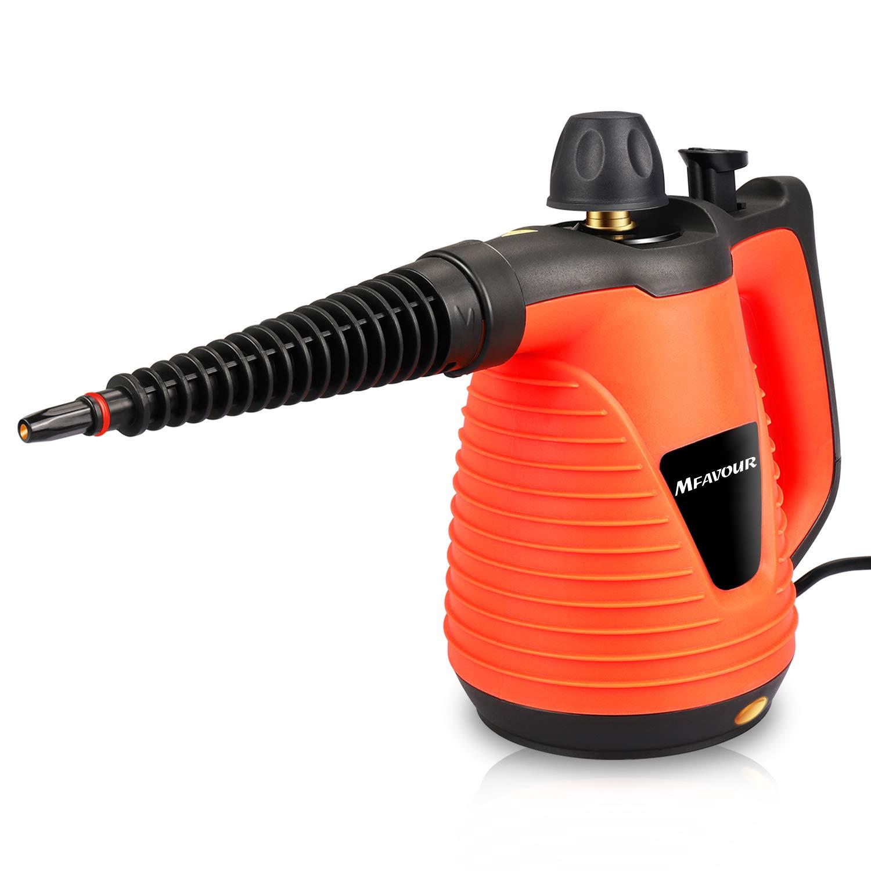 mfavour Limpiadoras de Vapor 1050W Limpiador Portátil Máquina Potente Limpiador a Vapor multifunción de Mano con 9 Accesorios, Adecuado para el hogar y la Oficina, 250ML Naranja
