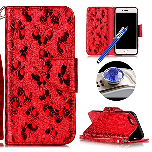 Cover iPhone 7,Custodia iPhone 7,Custodia Cover Case per iPhone 7,Etsue Ultra Slim Portafoglio Pu Wallet Case Cover Leather in Pelle Flip Cover Custodia per iPhone 7 Laser Deisgni Bella Farfalla Model rossa