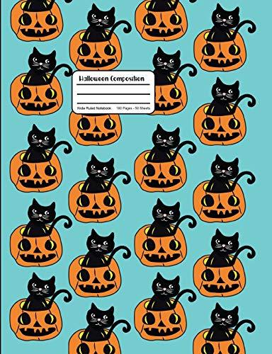 Halloween Composition: Black Cat And Jack O'Lantern Pumpkin Pattern Notebook Wide Ruled Aqua Blue (Bag Paper Designs Halloween)