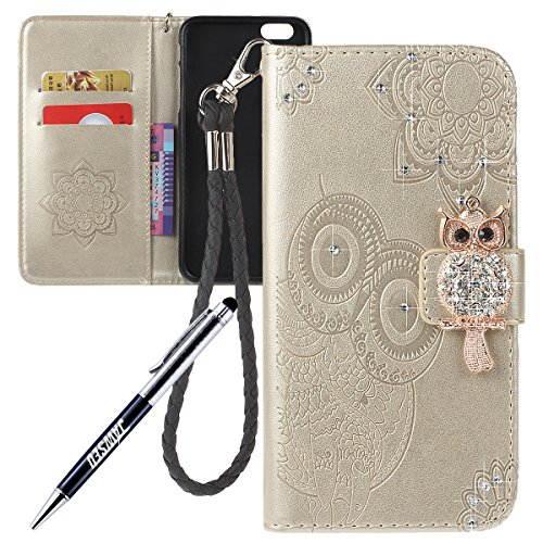 iPhone 6S Cover Custodia, iPhone 6 Custodia Pelle, JAWSEU iPhone 6/6S Protezione Creativo Diamante Gufo Libro Disegno Wallet Pouch Leather Flip Case Cover Custodia per iPhone 6/iPhone 6S Cover Copertu Diamante Gufo, Oro