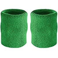 Suddora 4  Inch Sport Arm Sweatbands - Athletic Cotton Armbands Pair (Green) cf064307eb6