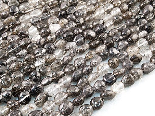 Beads ok, diy, quarzo nero rutilato brasiliano, a-grade, genuine, naturale, 6-8mm, liscio sassi/nugget, circa 40cm un filo. (brazilian black rutilated quartz, a-grade, plain pebble bead)
