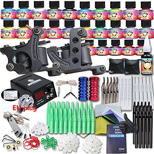 Neu Tätowierung Tattoo Kit Komplett 25 Tattoo Farben/Inks USA TOP tattoo inks 2 Tattoo maschine CE Power (Up Komplettes Kit Make)