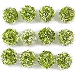 Deko Kugeln Grün Weiss Graskugel Allium 6 Cm 12 Stück