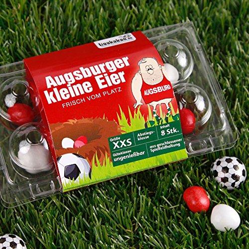 Augsburger Kleine Eier Oster-Überraschung gemein leckere Schokoeier frisch vom Platz, zum Ärgern von FC Augsburg-Fans| Süßigkeiten Schokonüsse