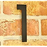 nanook Numéro de Maison 1 en acier inox revêtement poudre - anthracite - H: 15 cm, noir - gris