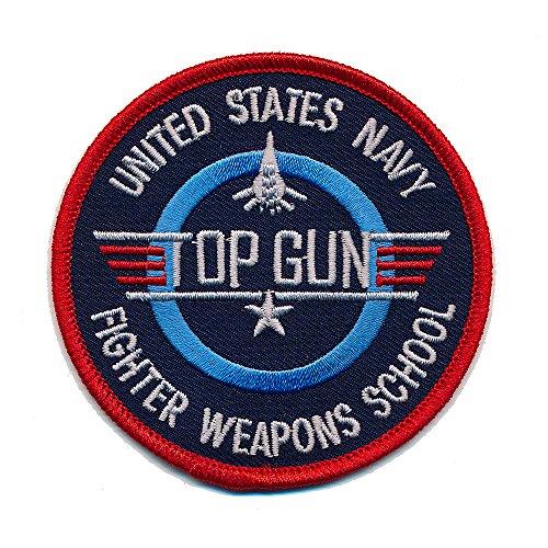 USA TOP GUN Navy Fighter Weapons School 45 mm US Patch Aufnäher Aufbügler 0502 A