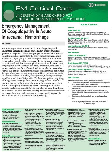 EM Critical Care: Emergency Management Of Coagulopathy In Acute Intracranial Hemorrhage (English Edition)