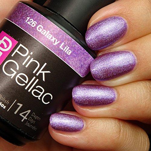 Vernis à ongles Pink Gellac 126 Galaxy Lila. 15 ml gel Manucure et Nail Art pour UV LED lampe, top coat résistant shellac