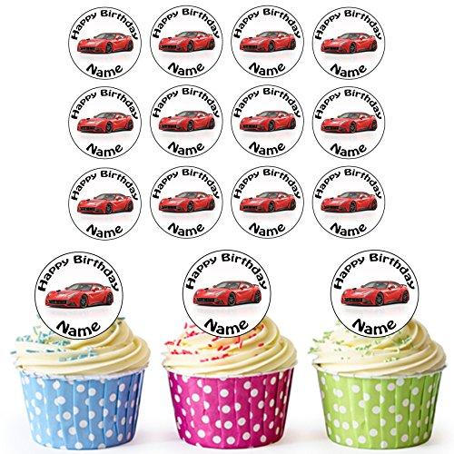 farrari-sports-car-30-personalised-edible-cupcake-toppers-birthday-cake-decorations-easy-precut-circ