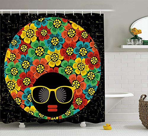JIEKEIO 70s Party Decorations Shower Curtain, Abstract Woman Portrait Hair Style with Colorful Flowers Sunglasses Lips Graphic, Fabric Bathroom Decor Set with Hooks, 60 * 72inchs Long, Multicolor