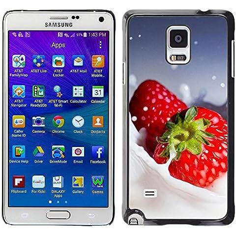 TORNADOCOVER Unico Immagine Rigida Custodia Case Cover Protezione Per SMARTPHONE Samsung Galaxy Note 4 SM-N910F SM-N910K SM-N910C SM-N910W8 SM-N910U SM-N910 - macro frutta cremoso fragole - Cremoso Fragola
