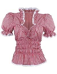 Oktoberfest Trachtenbluse Bluse Dame Tuniken Mieder Corsage Shirt Volant Rüschen Freizeit Business Hochzeit Rot Weiß Karo