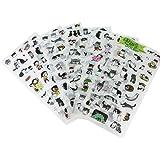 Falary Lot de 6 Feuilles Gommettes Chat Stickers Bullet Journal Accessoires Autocollants pour Scrapbooking Loisirs Creatifs M
