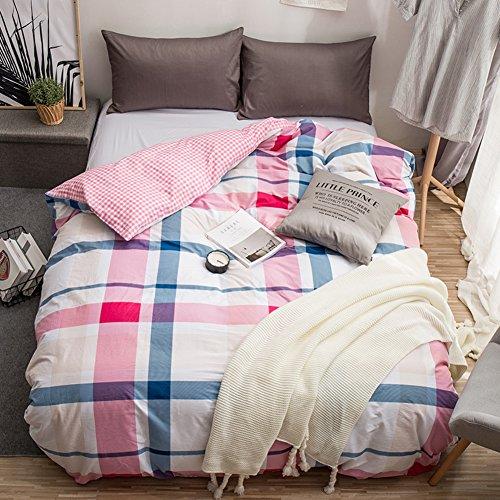 GX&XD Weich atmungsaktiv Bettwäscheset, Fade beständig Tröster cover gedruckt Reißverschluss Baumwolle Bettbezug Für könig königin und voller bettdecken-E 160x210cm(63x83inch) -