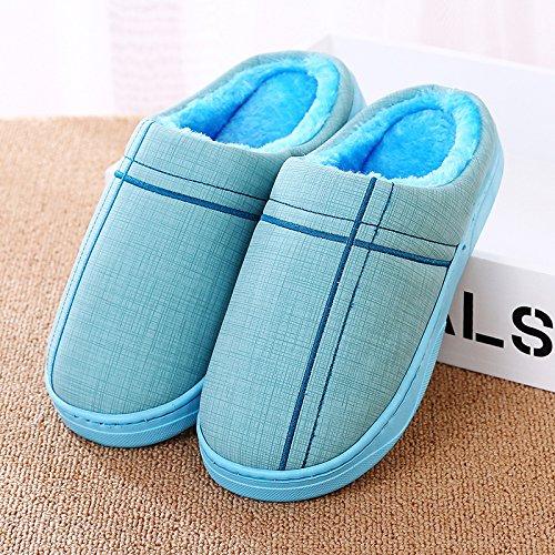 YMFIE Mesdames et messieurs lhiver PU antidérapant imperméable coton chaussons chaussons chaussures chaudes F