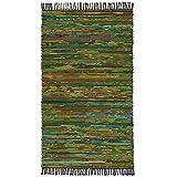 Fair Trade Handgefertigt Chindi Indischen Flickenteppich recycelte Baumwolle & Fleece, Textil, grün, 90 x 150